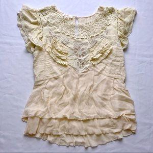 Sundance Lace Top Blouse Cream Shirt L